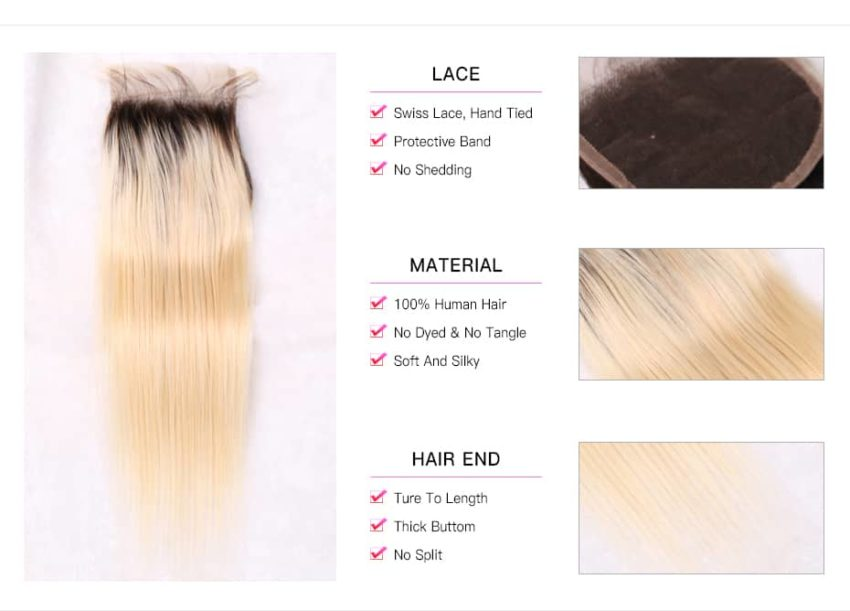 black and blonde ombre weave straight hair 3 bundles with closure8