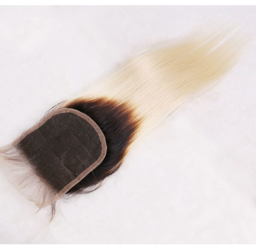 black and blonde ombre weave straight hair 3 bundles with closure9