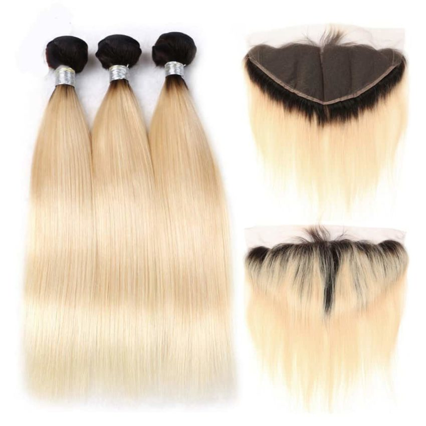 black and blonde ombre weave straight hair 3 bundles with frontal1