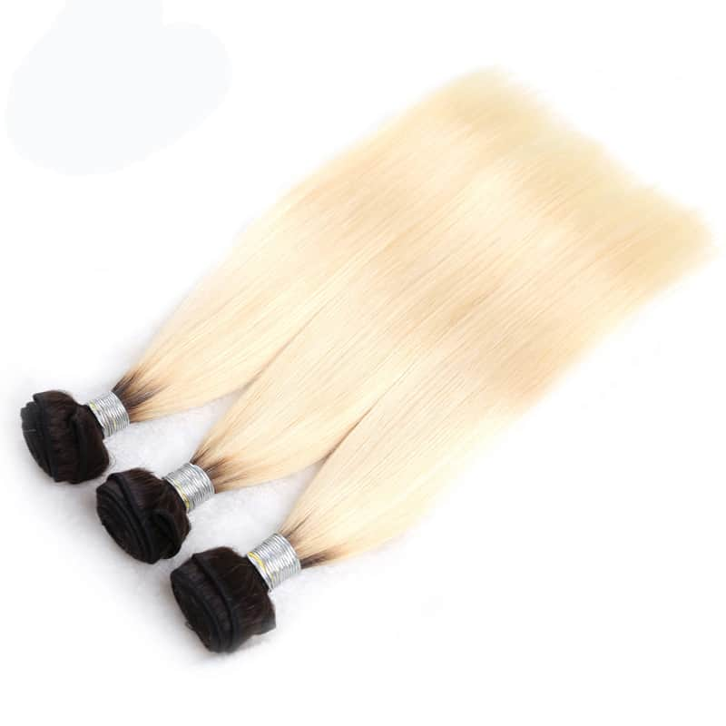 black and blonde ombre weave straight hair 3 bundles with frontal11