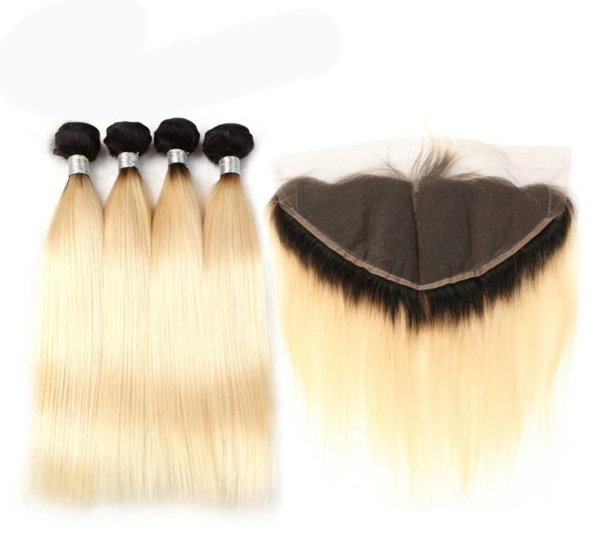 black and blonde ombre weave straight hair 3 bundles with frontal2
