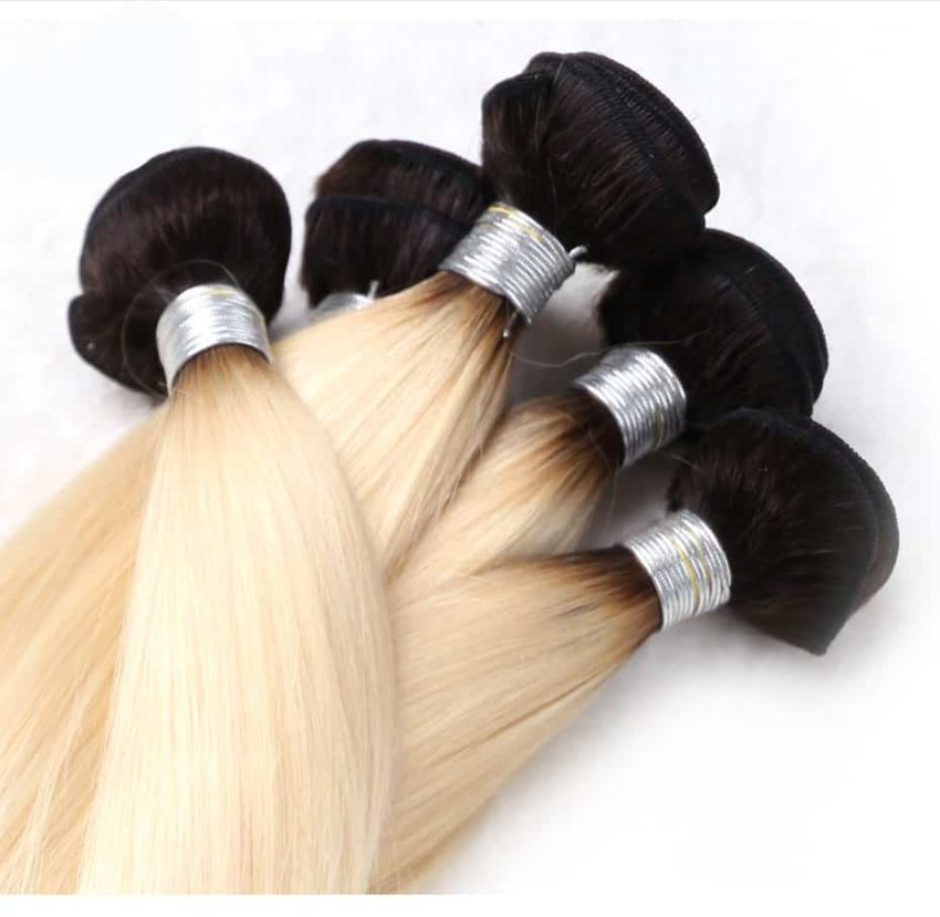 black and blonde ombre weave straight hair 3 bundles with frontal4
