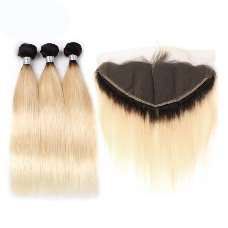 black and blonde ombre weave straight hair 3 bundles with frontal5