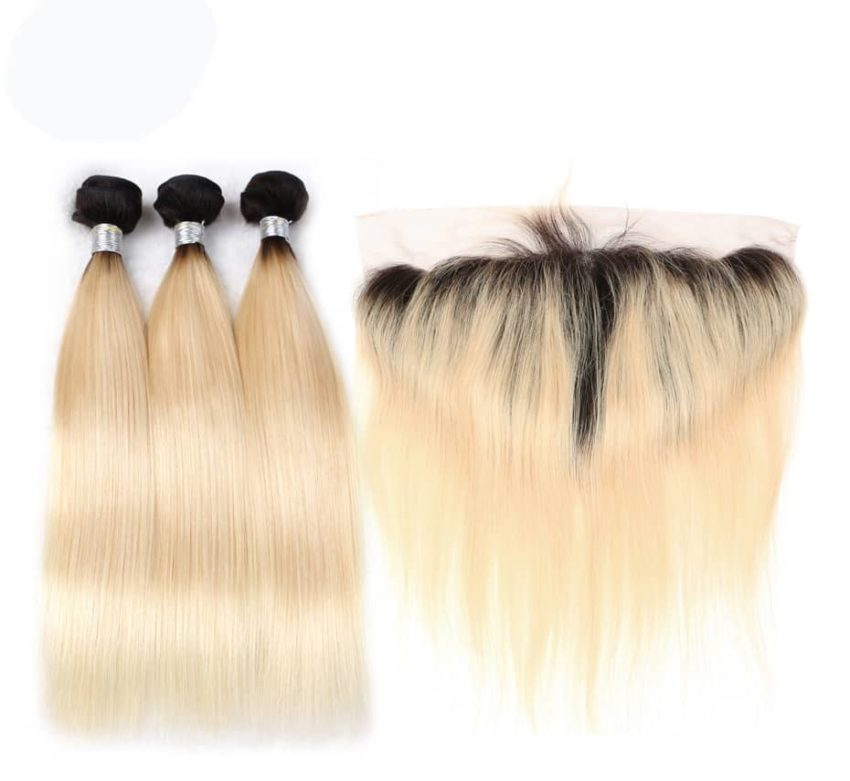 black and blonde ombre weave straight hair 3 bundles with frontal6