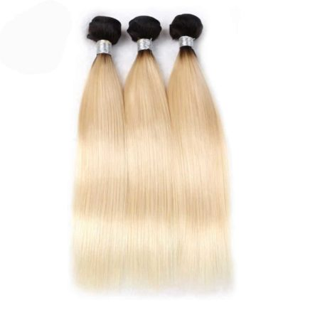 black and blonde ombre weave straight hair 3 bundles1