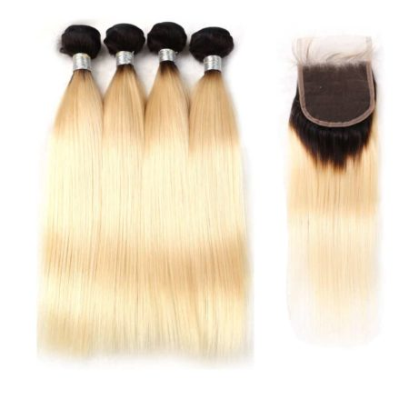 black and blonde ombre weave straight hair 4 bundles with closure1