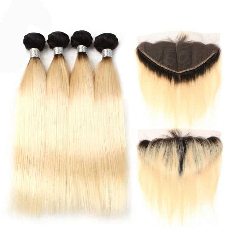 black and blonde ombre weave straight hair 4 bundles with frontal1