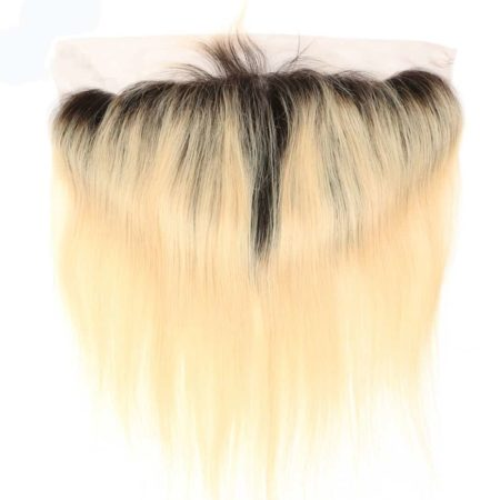 black and blonde ombre weave straight hair 4 bundles with frontal2