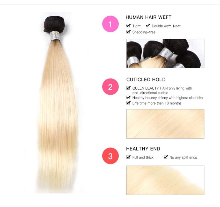 black and blonde ombre weave straight hair 4 bundles with frontal3