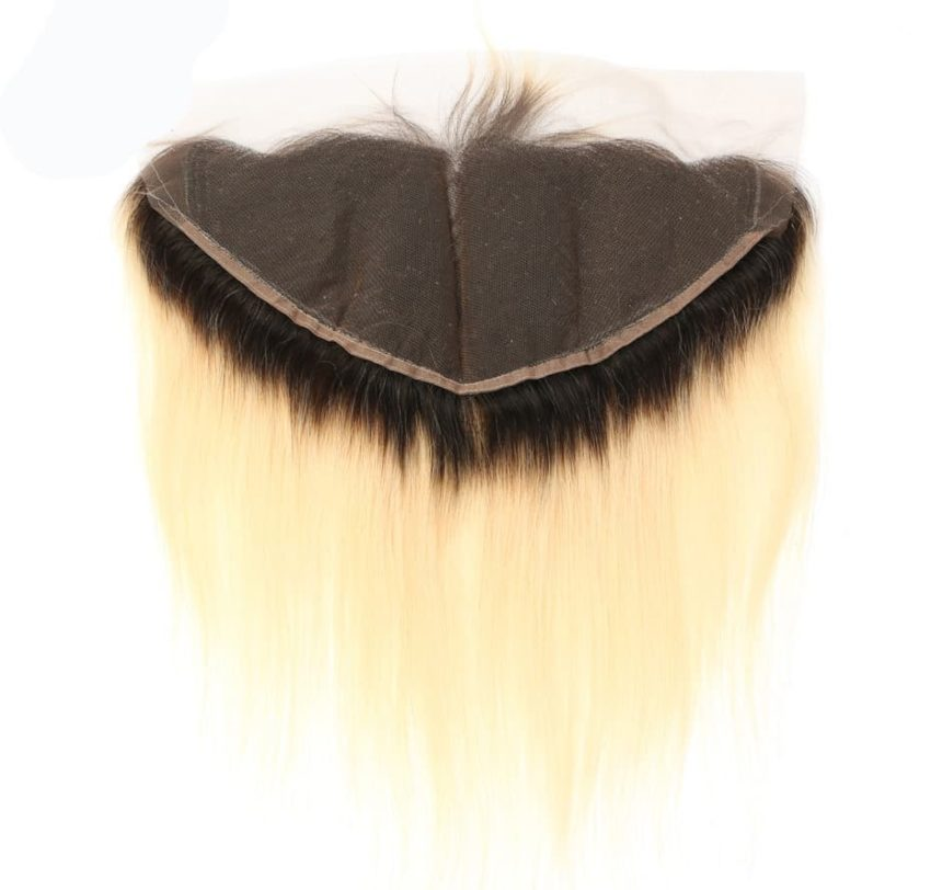 black and blonde ombre weave straight hair 4 bundles with frontal4