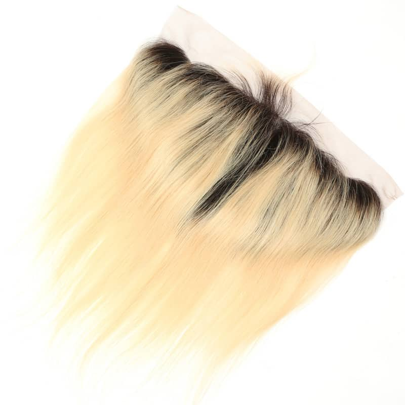 black and blonde ombre weave straight hair 4 bundles with frontal5