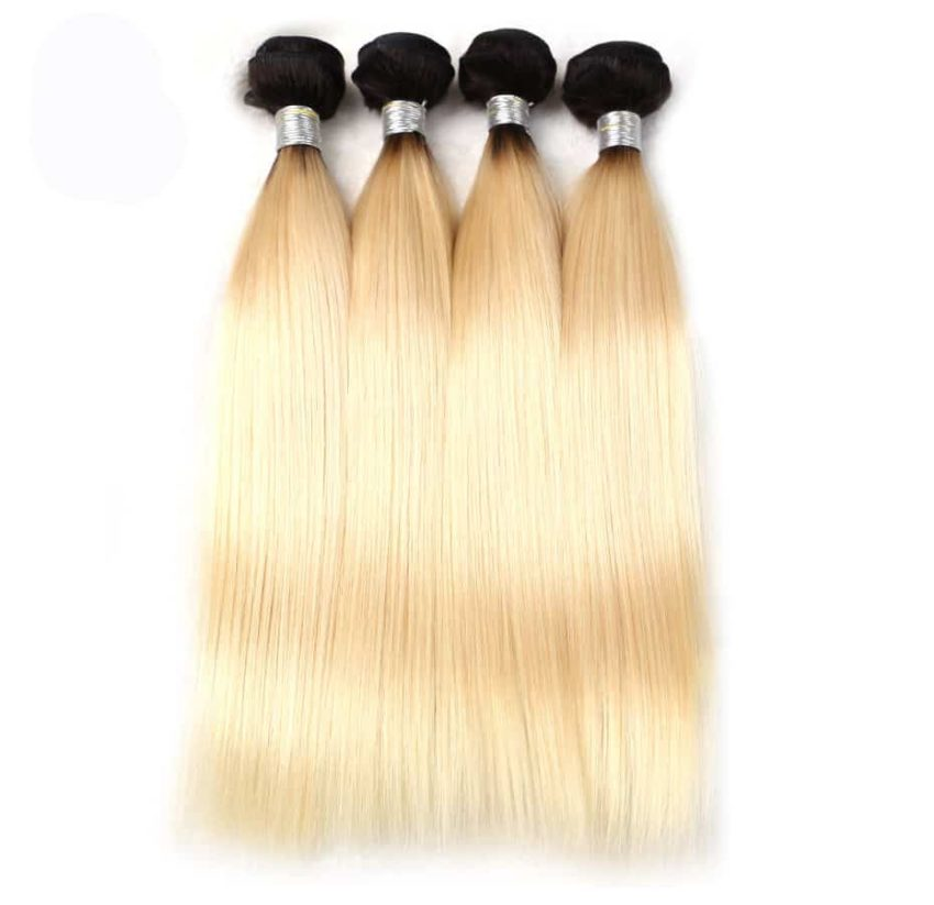 black and blonde ombre weave straight hair 4 bundles1