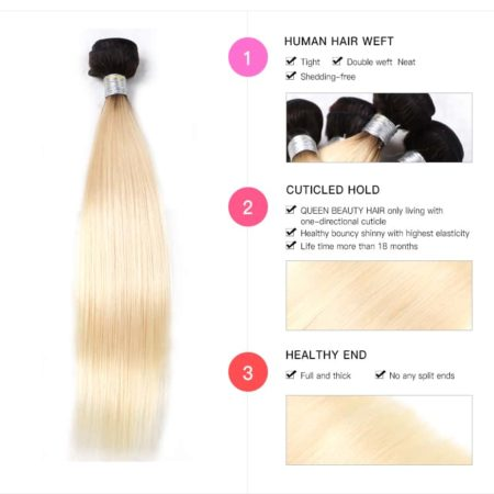 black and blonde ombre weave straight hair 4 bundles2