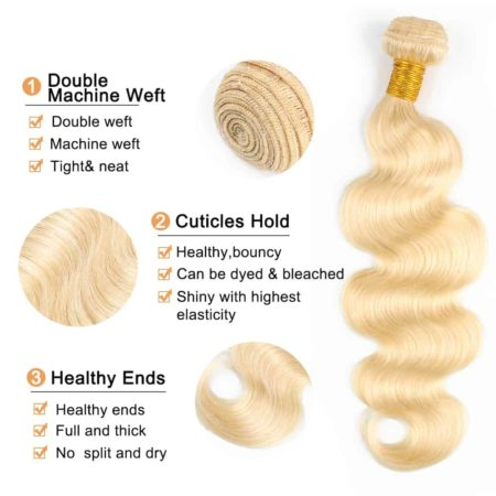 blonde hair body wave 3 bundles with closure2
