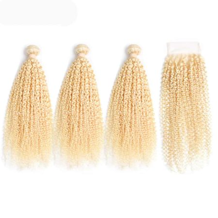 blonde hair kinky curly 3 bundles with closure1