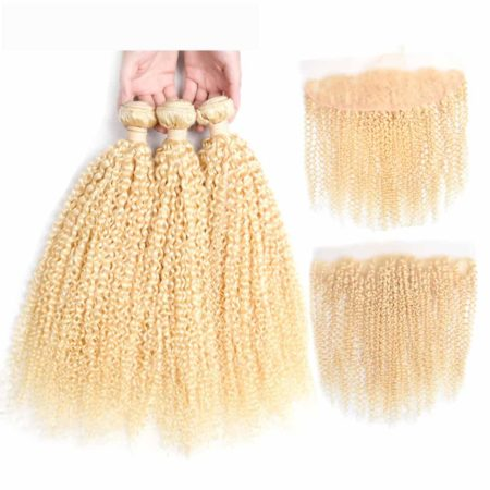 blonde hair kinky curly 3 bundles with frontal1