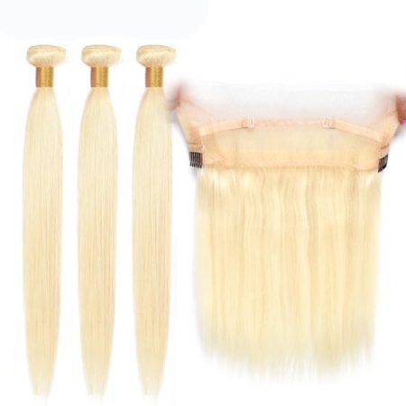 blonde hair straight 3 bundles with 360 frontal1