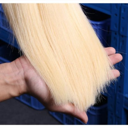 blonde hair straight 3 bundles with 360 frontal10