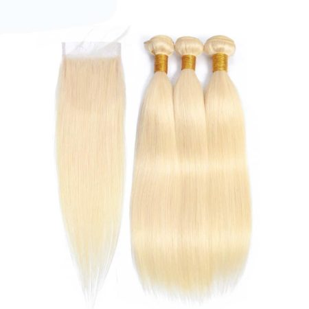 blonde hair straight 3 bundles with closure1