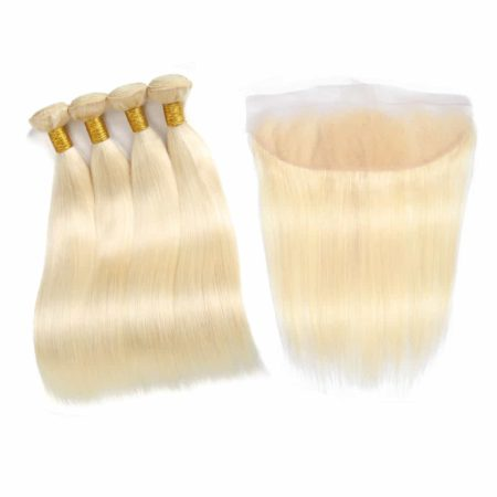 blonde hair straight 4 bundles with frontal1