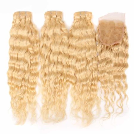 blonde hair wet and wavy 3 bundles with closure1