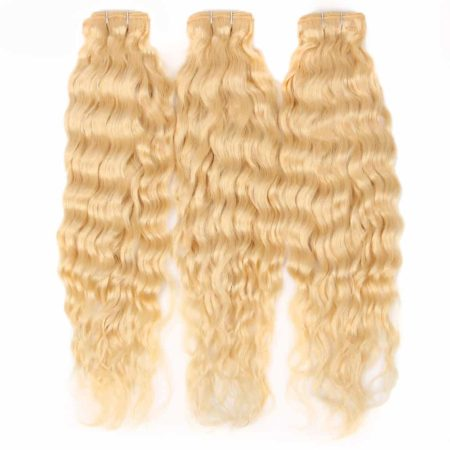 blonde hair wet and wavy 3 bundles with closure2