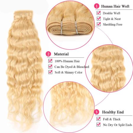 blonde hair wet and wavy 3 bundles2