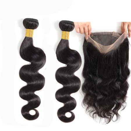 brazilian body wave 2 bundles with 360 frontal
