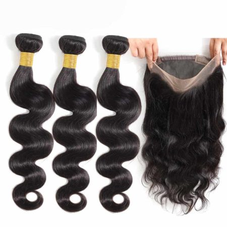 brazilian body wave 3 bundles with 360 frontal