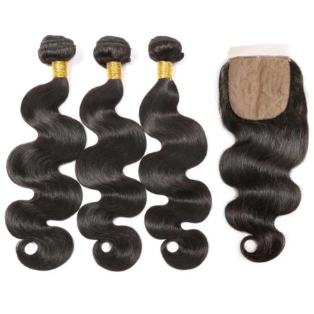 brazilian body wave 3 bundles with silk base closure