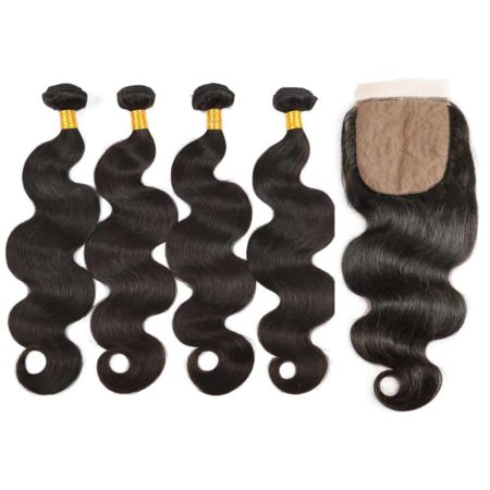 brazilian body wave 4 bundles with silk base closure