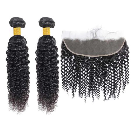brazilian curly 2 bundles with frontal