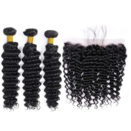brazilian deep wave hair 3 bundles with frontal