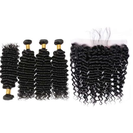 brazilian deep wave hair 4 bundles with frontal
