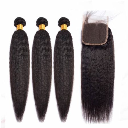brazilian kinky straight hair 3 bundles with closure