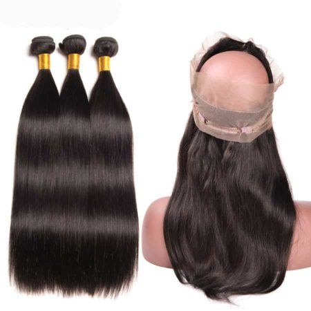 brazilian straight 3 bundles with 360 frontal