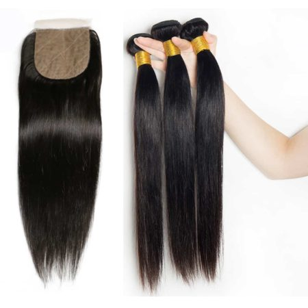 brazilian straight 3 bundles with silk base closure