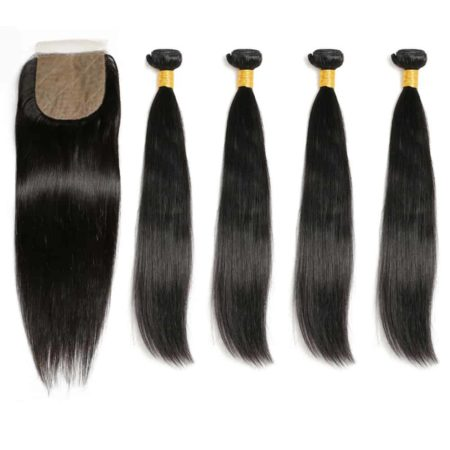 brazilian straight 4 bundles with silk base closure
