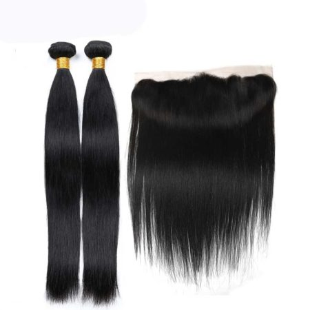 brazilian straight hair 2 bundles with frontal