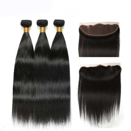 brazilian straight hair 3 bundles with frontal