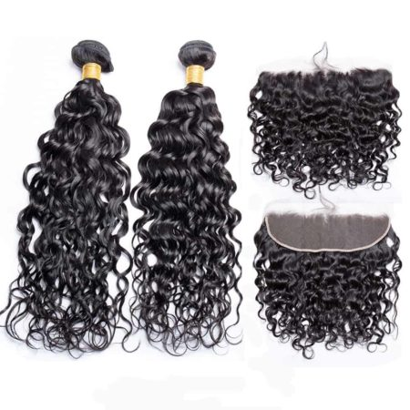 brazilian wet and wavy hair 2 bundles with frontal