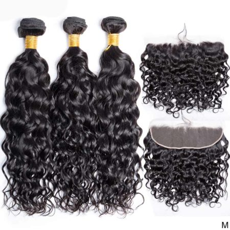 brazilian wet and wavy hair 3 bundles with frontal