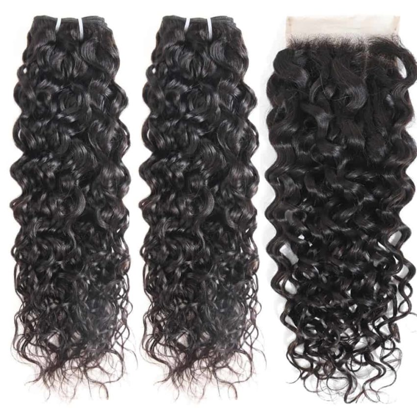 indian Wet And Wavy hair 2 bundles with closure