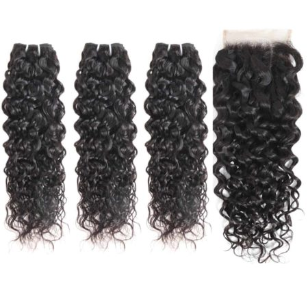 indian Wet And Wavy hair 3 bundles with closure