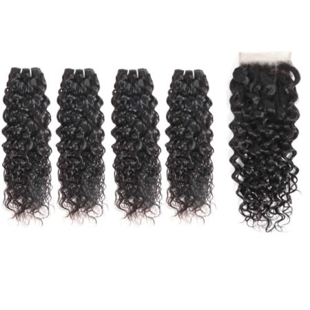 indian Wet And Wavy hair 4 bundles with closure