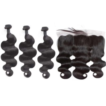 indian body wave 3 bundles with frontal