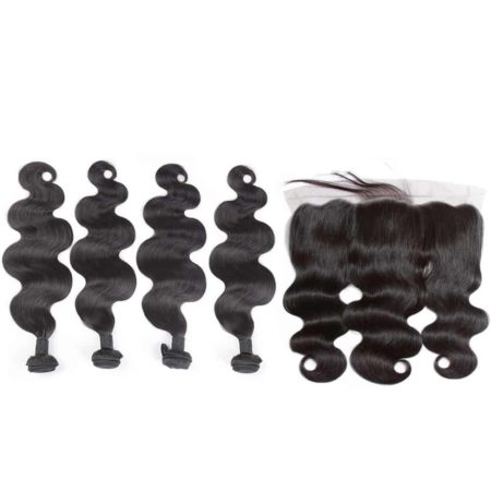 indian body wave 4 bundles with frontal