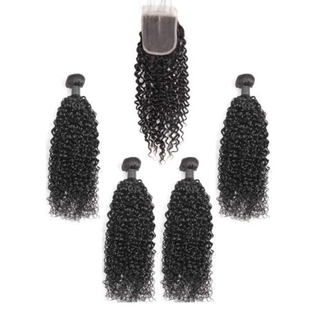 indian curly hair 4 bundles with closure