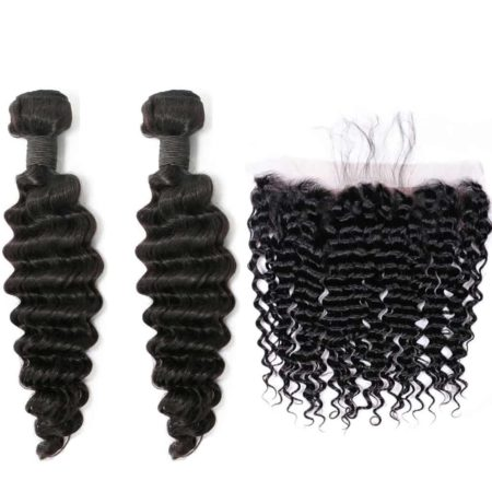 indian deep wave hair 2 bundles with frontal