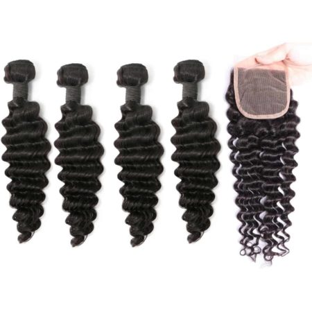 indian deep wave hair 4 bundles with closure